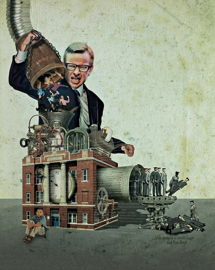 Steve Caplin illustration of Michael Gove and a machine making teachers
